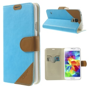 Contrasting Color Leather Stand Cover for Samsung Galaxy S 5 G900 with Card Slots - Blue
