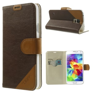 Contrasting Color Leather Stand Cover for Samsung Galaxy S 5 G900 with Card Slots - Coffee