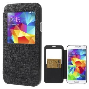 Mercury Viva Window View Oracle Grain Leather Flip Case for Samsung Galaxy S5 G900 - Black