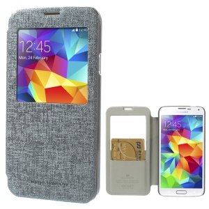 Mercury Viva Window View Oracle Grain Flip Leather Case for Samsung Galaxy S5 G900 - Grey
