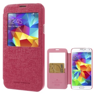 Mercury Viva Window View Oracle Grain Flip Leather Cover for Samsung Galaxy S5 G900 - Rose