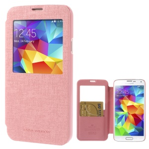 Mercury Viva Window View Oracle Grain Leather Folio Case for Samsung Galaxy S5 G900 - Pink