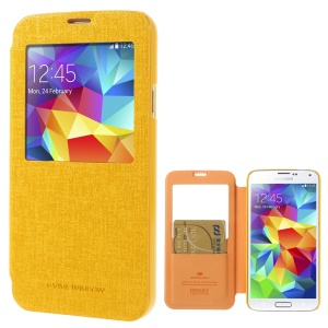 Mercury Viva Window View Oracle Grain Leather Folio Cover for Samsung Galaxy S5 G900 - Yellow