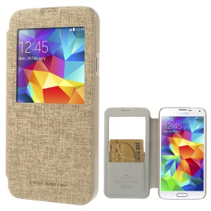 Mercury Viva Window View Oracle Grain Leather Case w/ Card Slot for Samsung Galaxy S5 G900 - Champagne
