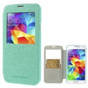 Mercury Viva Window View Oracle Grain Leather Cover w/ Card Slot for Samsung Galaxy S5 G900 - Cyan