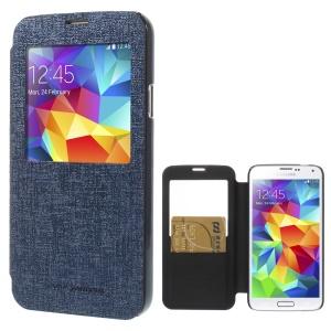 Mercury Viva Window View Oracle Grain Leather Card Holder Case for Samsung Galaxy S5 G900 - Dark Blue