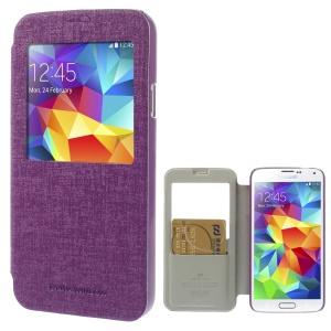 Mercury Viva Window View Oracle Grain Leather Case for Samsung Galaxy S5 G900 - Purple
