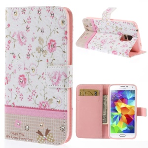 Pink Floret Lace Rhinestone Leather Wallet Case w/ Stand for Samsung Galaxy S5 G900
