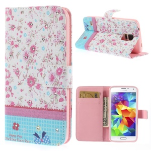 Seamless Floret Lace Rhinestone Leather Wallet Cover w/ Stand for Samsung Galaxy S5 G900