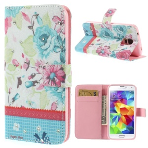 Blooming Flowers Lace Rhinestone Leather Stand Case w/ Card Slots for Samsung Galaxy S5 G900