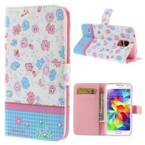 Colorized Flowers Lace Rhinestone Leather Stand Cover w/ Card Slots for Samsung Galaxy S5 G900
