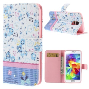 Blue Flowers Lace Rhinestone Leather Magnetic Case w/ Stand for Samsung Galaxy S5 G900