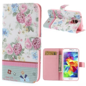 Rose Flowers Lace Rhinestone Leather Magnetic Cover w/ Stand for Samsung Galaxy S5 G900