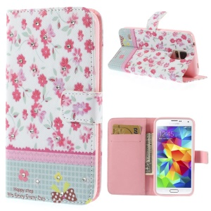 Vivid Flowers Lace Rhinestone Leather Card Holder Case w/ Stand for Samsung Galaxy S5 G900