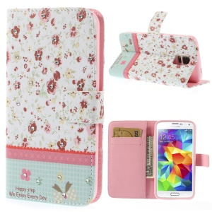 Beautiful Flowers Lace Rhinestone Leather Card Holder Cover w/ Stand for Samsung Galaxy S5 G900