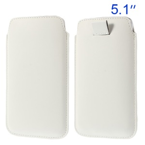 White Pull Tab Leather Pouch Case for Samsung Galaxy S5 G900/ S4 I9500/ S III mini VE I8200 Etc