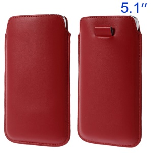 Red Pull Tab Leather Pouch Cover for Samsung Galaxy S5 G900/ S4 I9500/ S III mini VE I8200 Etc