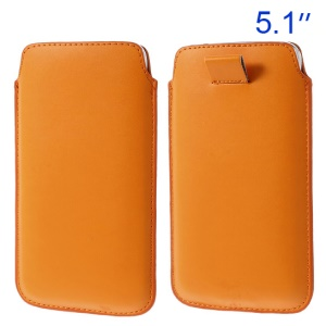 Orange Pull Tab Leather Case Pouch for Samsung Galaxy S5 G900/ S4 I9500/ S III mini VE I8200 Etc