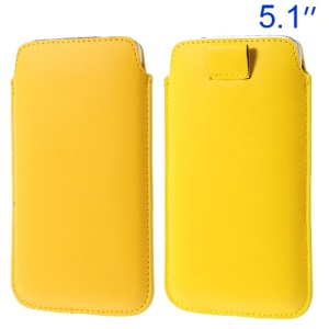 Yellow Leather Pouch for Samsung Galaxy S5 G900/ S4 I9500/ S III mini VE I8200 Etc w/ Pull Tab