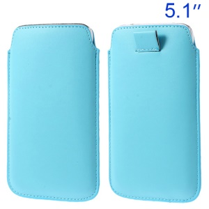 Baby Blue Pull Tab Leather Pouch Sleeve for Samsung Galaxy S5 G900/ S4 I9500/ I8200 Etc