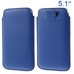 Dark Blue Pull Tab Leather Case Pouch for Samsung Galaxy S5 G900/ S4 I9500/ I8200 Etc