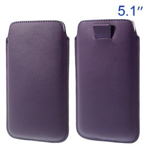Deep Purple Pull Tab Leather Shell Pouch for Samsung Galaxy S5 G900/ S4 I9500/ I8200 Etc