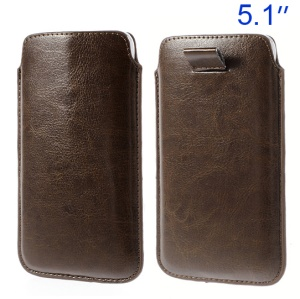 Coffee Pull Tab Leather Pouch Sleeve Case for Samsung Galaxy S5 G900/ S4 I9500/ I8200 Etc