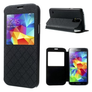 Lozenge Lattice Window View Leather Flip Case w/ Stand for Samsung Galaxy S5 G900 - Black