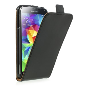 Black Vertical Leather Flip Case for Samsung Galaxy S5 G900
