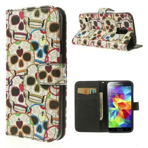 Colorized Skull Heads Leather Card Slot Case w/ Stand for Samsung Galaxy SV G900F