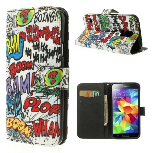 Haha Bam Boom Leather Card Slot Cover w/ Stand for Samsung Galaxy SV G900K