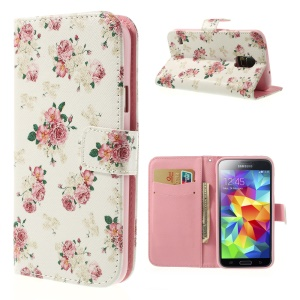 Elegant Peony Leather Cover Stand w/ Card Slots for Samsung Galaxy SV G900I