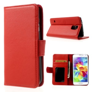 Red for Samsung Galaxy S5 G900 Smooth Leather Cover w/ Stand & Wallet