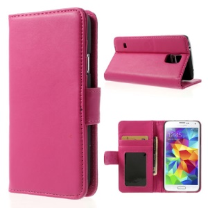 Rose for Samsung Galaxy S5 G900 Smooth Leather Shell w/ Stand & Wallet