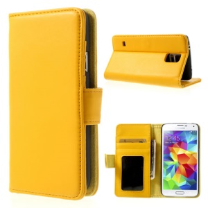 Yellow Smooth Leather Protective Case Stand for Samsung Galaxy S5 G900