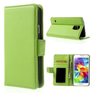 Green Smooth Leather Case Stand for Samsung Galaxy S5 G900 w/ Card Slots