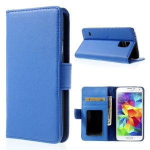 Blue Wallet Smooth Leather Stand Cover for Samsung Galaxy S5 G900