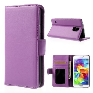 Purple Wallet Smooth Leather Case Cover for Samsung Galaxy S5 G900