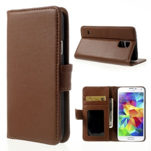 Brown for Samsung Galaxy S5 G900 Smooth Leather Case w/ Wallet & Stand
