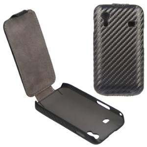 Carbon Fiber Vertical Flip Leather Case for Samsung Galaxy Ace S5830