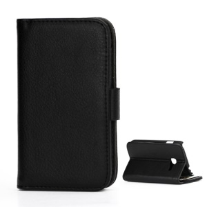 Litchi Texture Folio Leather Cover Credit Card Holder Case for Samsung Galaxy Ace Duos S6802 - Black