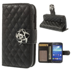 Diamante Camellia Magnetic Rhombus Leather Stand Case Wallet for Samsung Galaxy Ace 3 S7270 S7275 - Black