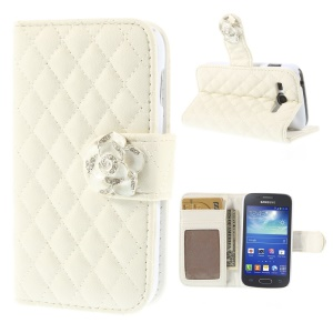 Diamante Camellia Magnetic Rhombus Wallet Leather Stand Case for Samsung Galaxy Ace 3 S7270 S7275 - White