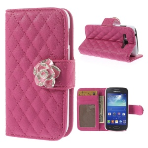 Diamond Camellia Magnetic Rhombus Leather Wallet Case Stand for Samsung Galaxy Ace 3 S7270 S7275 - Rose