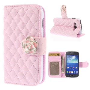 Diamond Camellia Magnetic Rhombus Leather Wallet Cover Stand for Samsung Galaxy Ace 3 S7270 S7275 - Pink