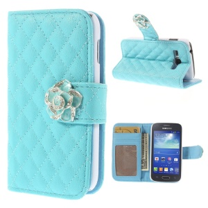 Diamond Camellia Magnetic Wallet Rhombus Leather Cover Stand for Samsung Galaxy Ace 3 S7270 S7275 - Blue