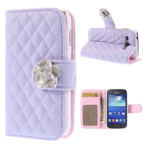 Diamond Camellia Magnetic Wallet Rhombus Leather Shell Stand for Samsung Galaxy Ace 3 S7270 S7275 - Purple