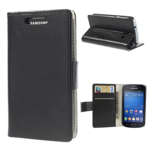 Crazy Horse Wallet Leather Magnetic Case for Samsung Galaxy Trend Lite S7390 S7392 w/ Stand - Black