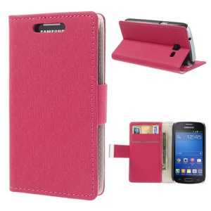 Maze Pattern Wallet Leather Stand Case for Samsung Galaxy Trend Lite S7390 S7392 - Rose