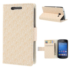 Maze Pattern Wallet Leather Stand Cover for Samsung Galaxy Trend Lite S7390 S7392 - White